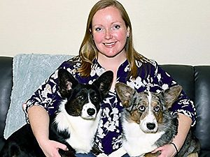 Dr. Samantha Nye with 2 Corgis